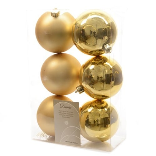 6 Luxury Shatterproof Christmas Baubles Decorations 80mm - Gold