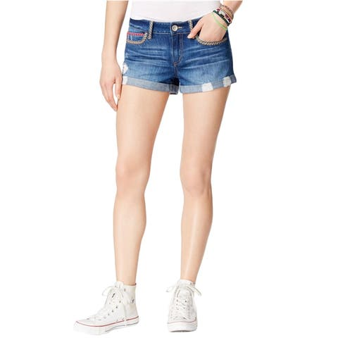 Rewash Womens Distressed Casual Denim Shorts