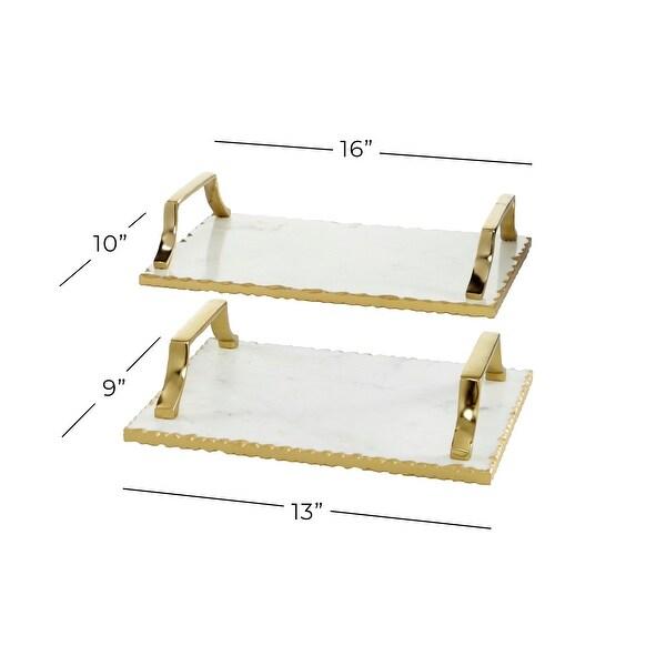Gold Ceramic Glam Tray (Set of 2) - 16 x 10 x 3