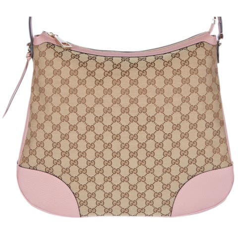 """Gucci 449244 Large Bree Canvas Beige Pink Leather Purse Hobo Handbag - beige and pink - 15"""" x 13"""" x 4.5"""""""
