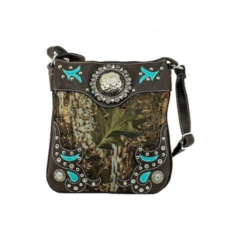 Bandana Western Messenger Bag Womens Canvas Brown Camo - Brown Camo - 10 x 11 x 2