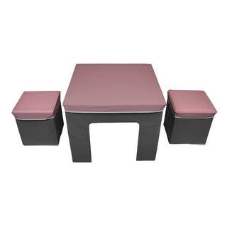 Cosco Pink & Grey Folding Fabric Kids Activity Table & Storage Ottoman Set