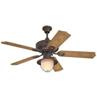 """Westinghouse 7877865 Lafayette 52"""" 5 Blade Hanging Indoor Ceiling Fan with Reversible Motor, Blades, Light Kit, and Down Rod"""