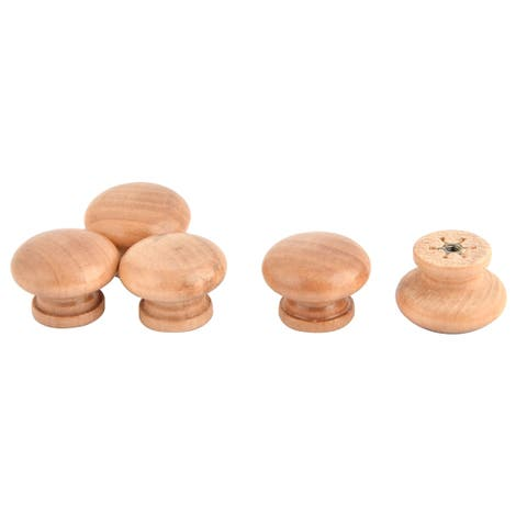 Uxcell Door Wardrobe Drawer Cabinet Wooden Round Shaped Pull Handle Knob 5pcs