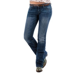 Cruel Girl Western Jeans Womens Abby Slim Bootcut Stonewash