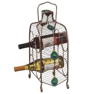 "16"" Contemporary Peacock Eye Inspired Wine Rack - 5 Bottle Storage"