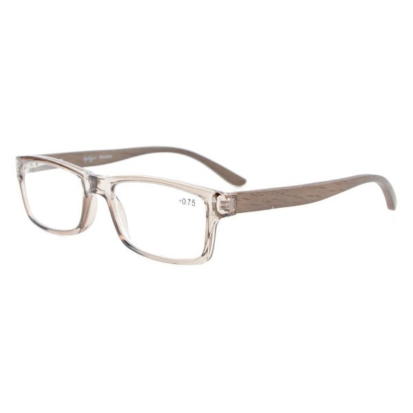 Eyekepper Quality Spring Hinges Wood Arms Mens Womens Reading Glasses Grey Frame +4.0