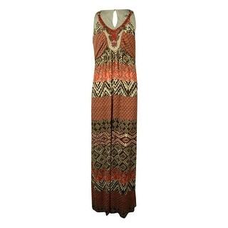 Sangria Women's Beaded Multi Print Maxi Dress - 12