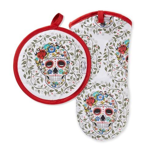 "Fiesta Fiesta Skull & Vine Oven Mitt & Pot Holder Set, Set of 2 - 8""x8"""