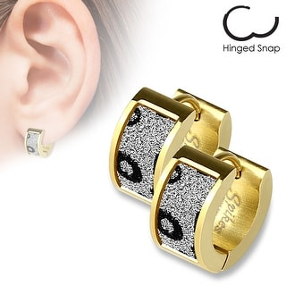 Pair of Gold IP Square Gold Leopard Sand Sparkle Stainless Steel Hoop Earrings