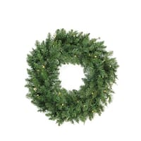 "24"" Pre-Lit Buffalo Fir Artificial Christmas Wreath - Warm White LED Lights - green"