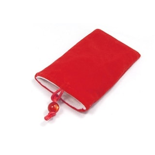 Portable Plush Button Closure Pouch Phone Case Red for iPhone 3G