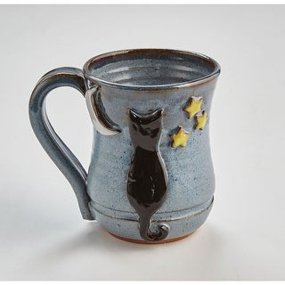 Handmade Cat Ceramic Coffee Mug - Moon and Stars - 14 Ounce
