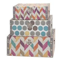 "Set of 3 Colorful Polka Dot and Chevron Stripe Fabric Covered Storage Trunks 18.25"" - multi"