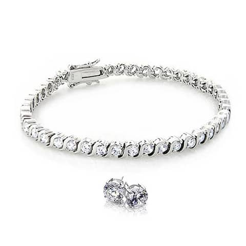Bridal Classic Round Wave Tennis Bracelet Earring Set For Women Cubic Zirconia CZ 925 Sterling Silver