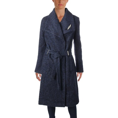Ivanka Trump Women's Wool Blend Boucle Long Wrap Belted Car Coat