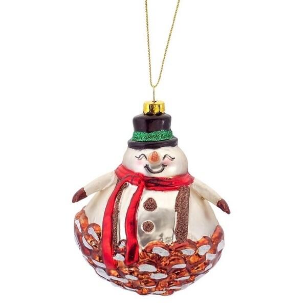 """4"""" Shiny Glittered Pine Cone Snowman Glass Christmas Ornament - WHITE"""