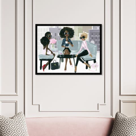 Oliver Gal 'Cocktail O'Clock' Drinks and Spirits Framed Wall Art Prints Cocktails - Pink, Gray