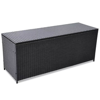 "vidaXL Garden Storage Box Black 59""x19.7""x23.6"" Poly Rattan"