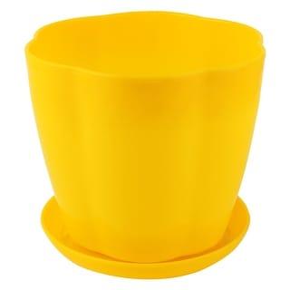 Home Garden Plastic Petal Shaped Plant Planter Holder Flower Pot Yellow w Tray