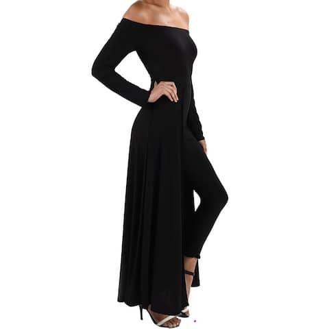 Funfash Women Black Pants Leggings Cape Dress Jumpsuit Bodysuit Jumper