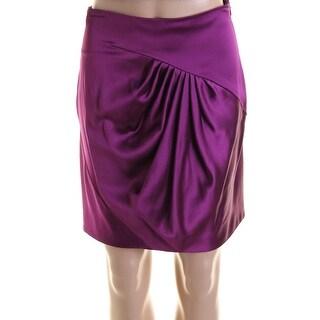 Catherine Malandrino Womens Sateen Pleated Pencil Skirt - S