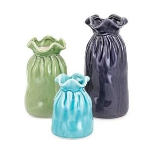 IMAX Home 10938-3  Carter Three Piece Ceramic Vase Set - Multi-Colored
