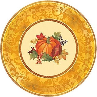 Amscan 12 in. Autumn Bountiful Holiday Metallic Plates - Pack of 2