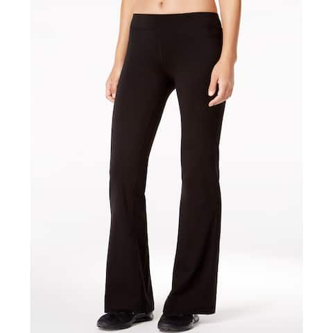 Ideology Women's Flex Stretch Short-Inseam Bootcut Yoga Pants Size Extra Small - Black - X-Small