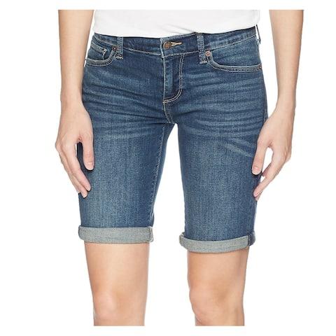 Lucky Brand Women's Shorts Dark Blue Size 8 Denim Bermuda Seamed