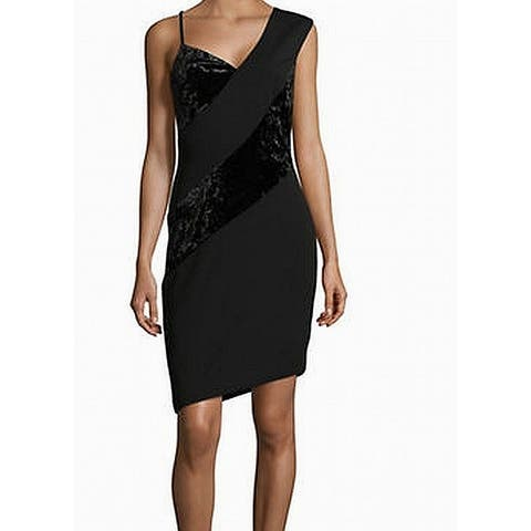 Rachel Roy Black Crushed Velvet Panel Women's Size 10 Sheath Dress
