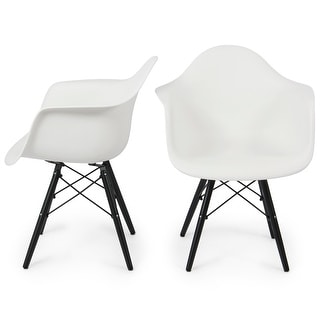 Belleze Set of 2, Modern Mid Century Lounge Armrest Style Chair Retro Shell Molded ABS Wooden Legs, White