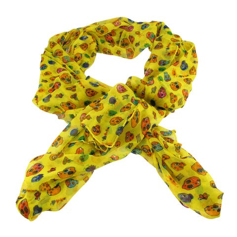 Lightweight Gauze Adorable Skulls and Hearts Fashion Scarf - One Size