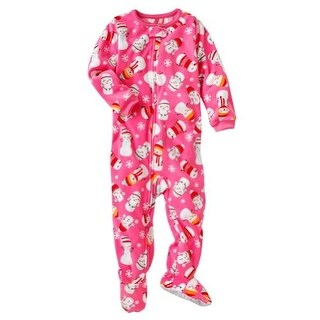 Carter's Little Girls' Pink Snowman Footed Fleece Pajamas- 4T