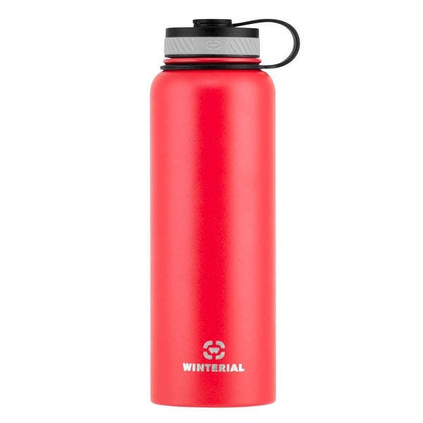 Winterial 40 oz Stainless Steel Insulated Double Walled Wide Mouth HOT & COLD Premium Water Bottle (RED)