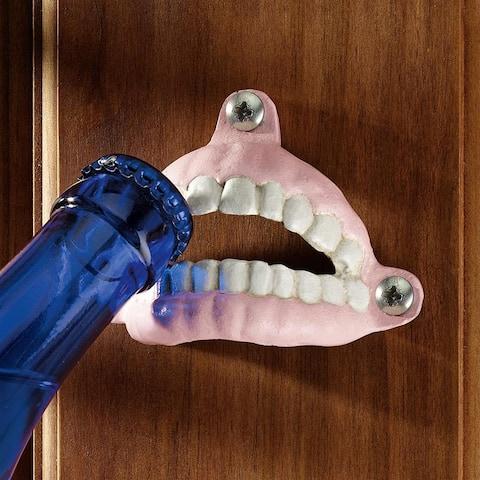 Design Toscano SP2309 False Teeth Cast Iron Bottle Opener, Single - White