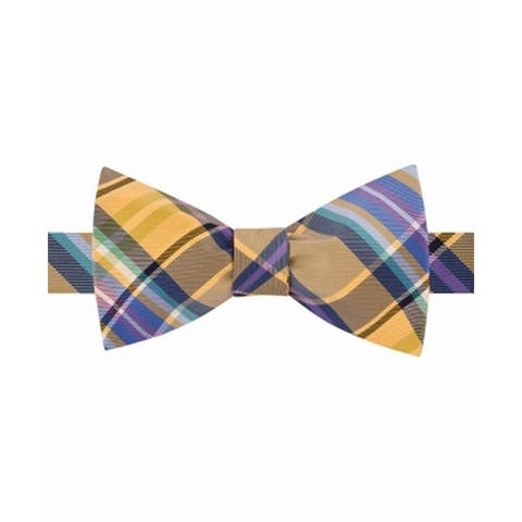 Tommy Hilfiger Men's Bow Tie Yellow One Size To-Tie Happy Color Plaid