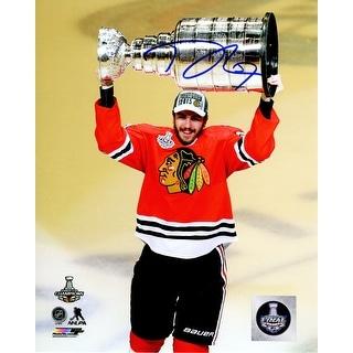 Trevor Van Riemsdyk Signed Chicago Blackhawks 2015 Stanley Cup Trophy 8x10 Photo