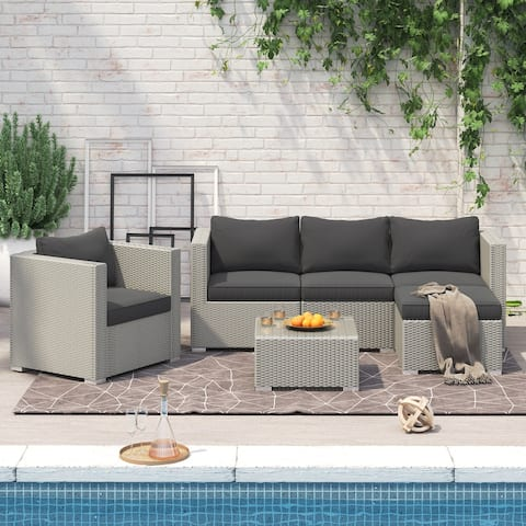 Corvus Oreanne 6-piece Outdoor Rattan Sectional Sofa Set