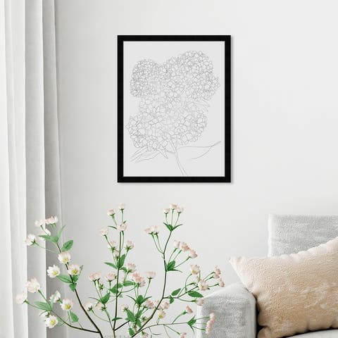 Oliver Gal 'Hydrangea' Floral and Botanical Wall Art Framed Print Florals - Gray, White