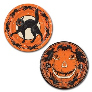 Club Pack of 96 Orange and Black Vintage Halloween Paper Party Dinner Plates 9""