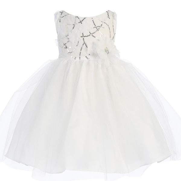 Baby Girls White Sequin Bodice Tulle Flower Girl Dress 6-24M