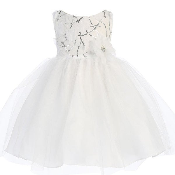 7bfc6e3ad61 Shop Baby Girls White Sequin Bodice Tulle Flower Girl Dress 6-24M - Free  Shipping Today - Overstock.com - 18170482