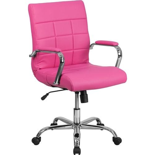 Aberdeen Mid-Back Pink Vinyl Executive Swivel Chair w/Chrome Base & Arms