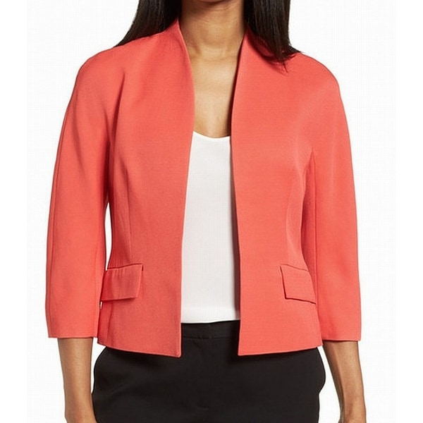Classiques Entier Red Womens Size 4 Cropped Open-Front Jacket