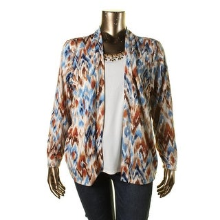 Alfred Dunner Womens Plus Embellished 2 In 1 Cardigan Top - 1X