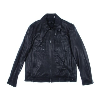 Kenneth Cole New York Mens Leather Outerwear Motorcycle Jacket