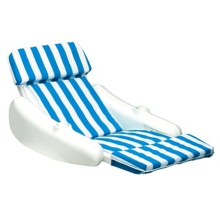 """Sunchaser Blue and White Striped Swimming Pool Floating Cushion Lounge Chair - 50"""" - N/A"""
