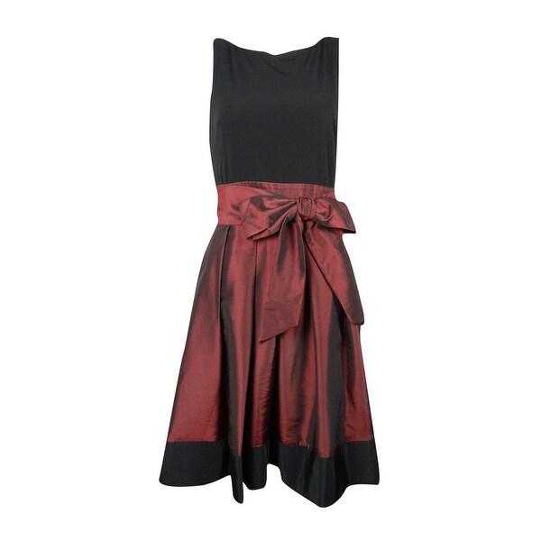 S.L. Fashions Women's Sleeveless Wrap Belt A-Line Cocktail Dress