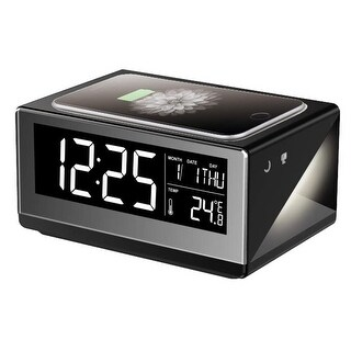 Boytone BT-12B Fast Wireless Charging Digital Alarm Clock with Temperature & Calendar Display, Bed Light Touch Dimmer, Snooze